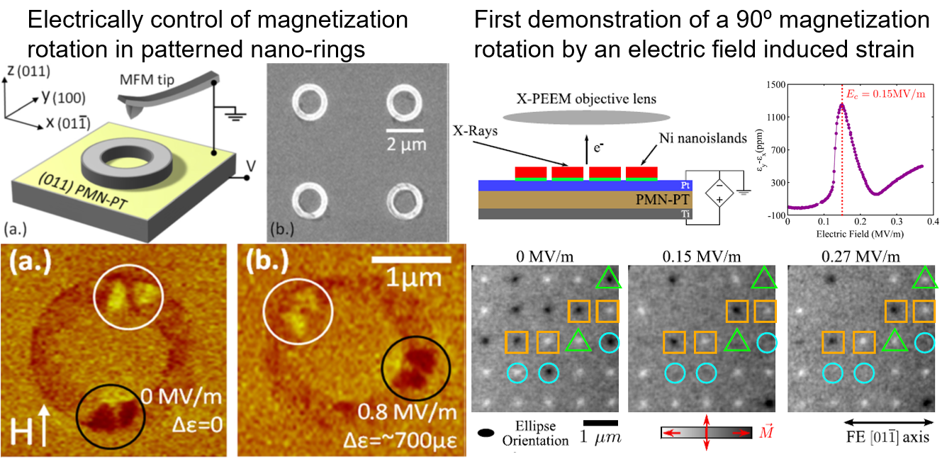 Electrically Control Magnetic Nano-Ring and Single Domain